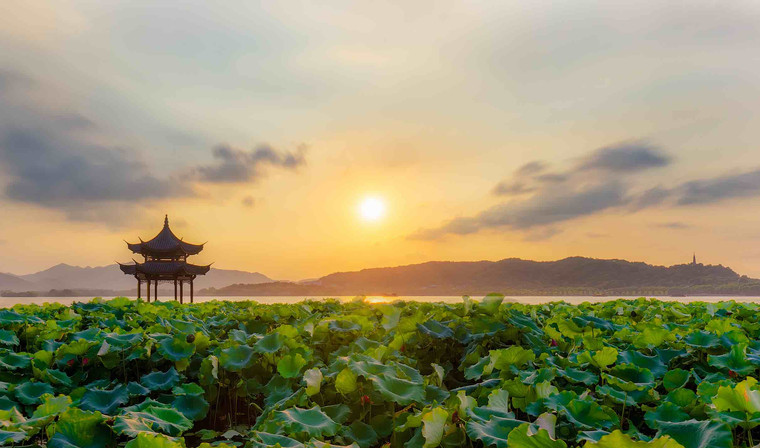 Lotus and Ancient Pavilion, Photo from Official Site of West Lake Scenic Area.