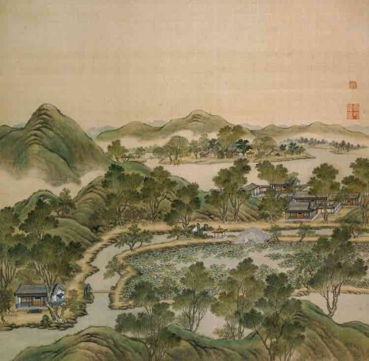 """Part of Court Painting """"Forty Scenes of the Old Summer Palace"""" (Yuan Ming Yuan Si Shi Jing Tu Yong) of the Qing Dynasty 5"""