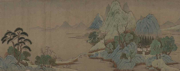 Painting Dewelling in the Mountains (Shan Ju Tu)  (111.6 cm × 26.5 cm), By Artist Qian Xuan (1239 — 1299) of the Yuan Dynasty
