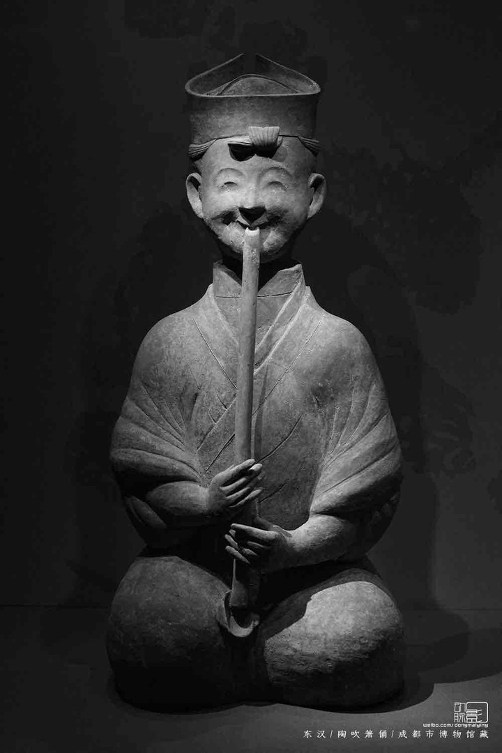 Unearthed Pottery Figurine Playing Musical Instrument Xiao — Chengdu Museum