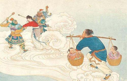 Niu Lang and Kids Chasing Zhi Nv in sky