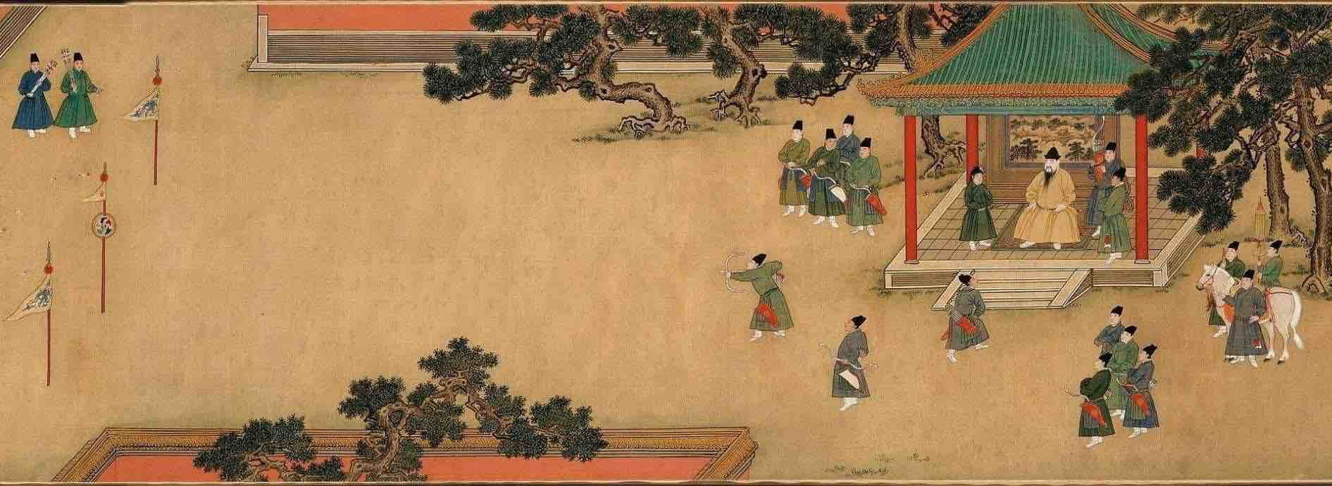 "Painting ""Zhu Zhanji Xing Le Tu"" Presenting Emperor Zhu Zhanji's Entertainment Activities in the Royal Palace Part"