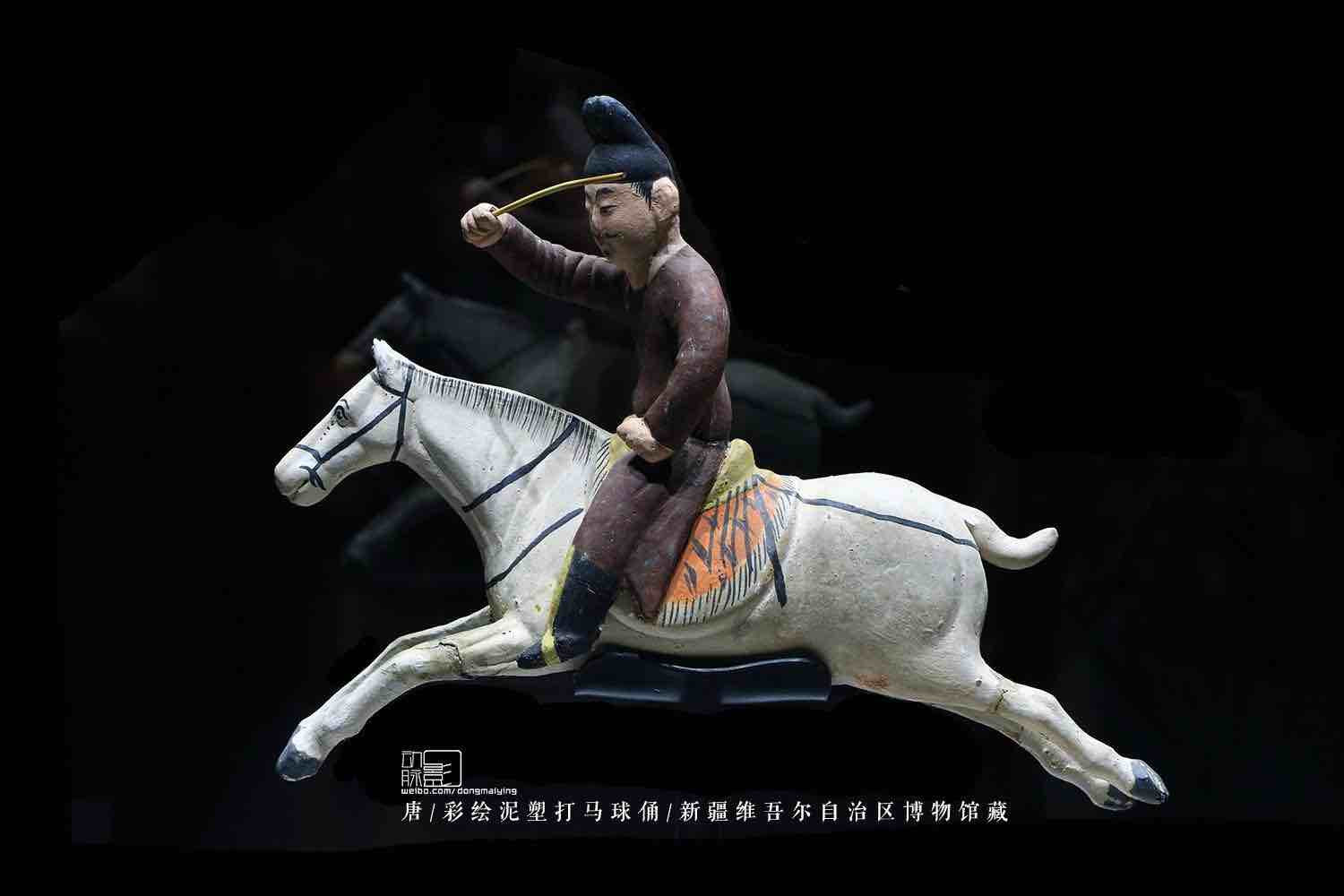 Painted Clay Sculpture Playing Polo of the Tang Dynasty — Xinjiang Museum