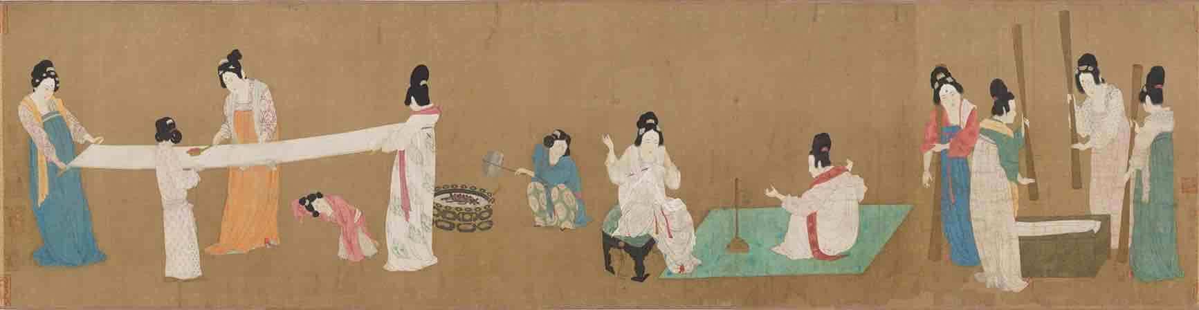 Court Ladies Preparing Newly Woven Silk (Dao Lian Tu) (145.3 cm × 37 cm) — Museum of Fine Arts, Boston