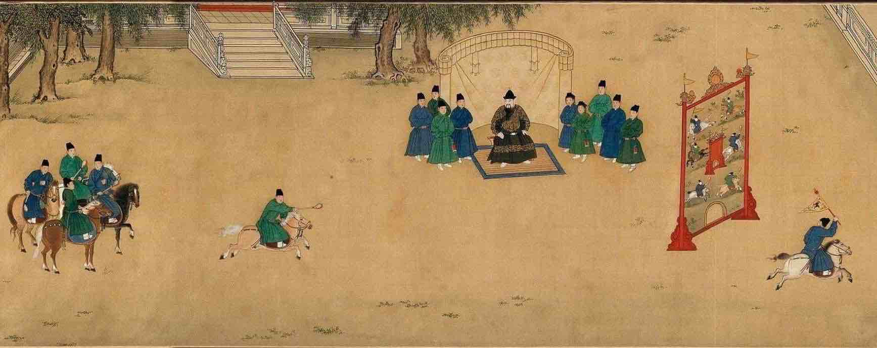 "Painting ""Zhu Zhanji Xing Le Tu"" Presenting Emperor Zhu Zhanji's Entertainment Activities in the Royal Palace Part 4"