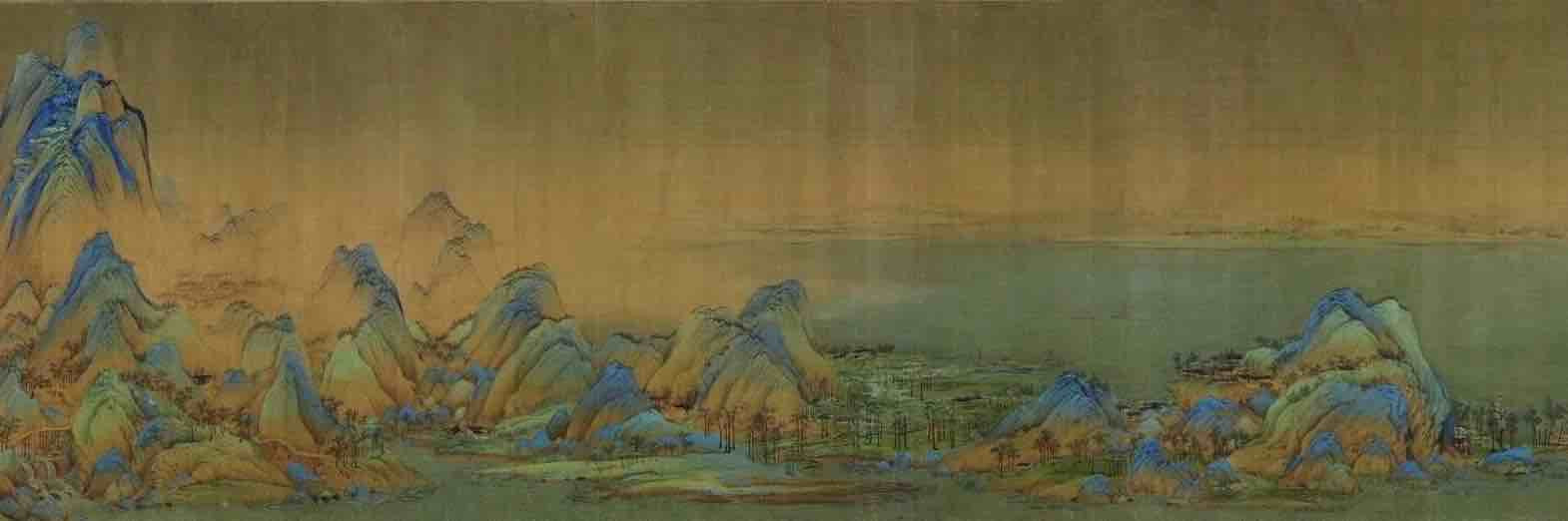 Painting Thousands Miles of Mountains and Rivers (Qian Li Jiang Shan Tu), by Artist Wang Ximeng of the Song Dynasty, Part 4