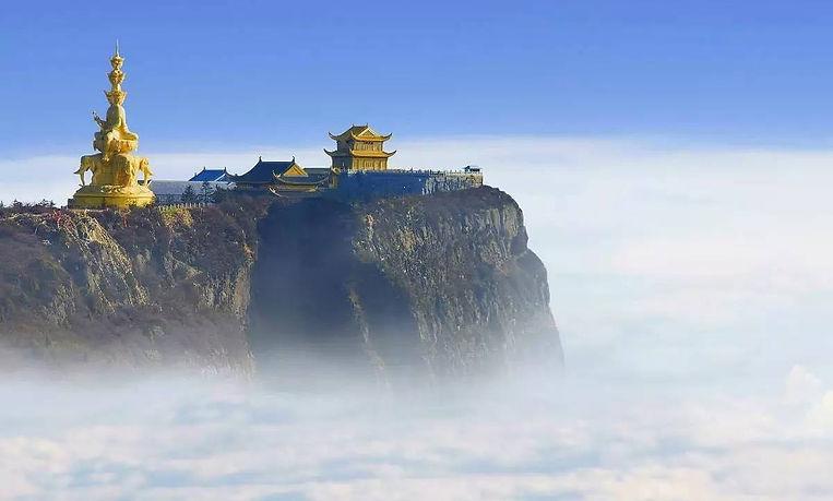 Golden Statue of Samantabhadra Bodhisattva (Puxian Pusa) and Temples on the Summit of Mount Emei.