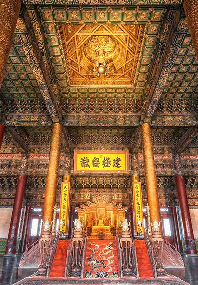 Emperors' Throne and Luxurious Decorations in the Hall of Supreme Harmony (or Tai He Dian) in the Outer Court