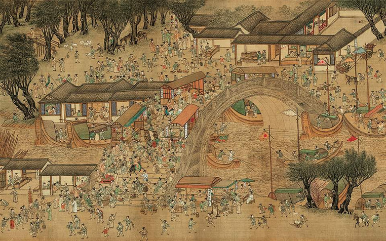 Part of the Painting (Qingming Shang He Tu) Along the River During the Qingming Festival, Genre Painting of the Suzhou City of the Ming Dynasty by Artist Qiu Ying (1497 — 1552)