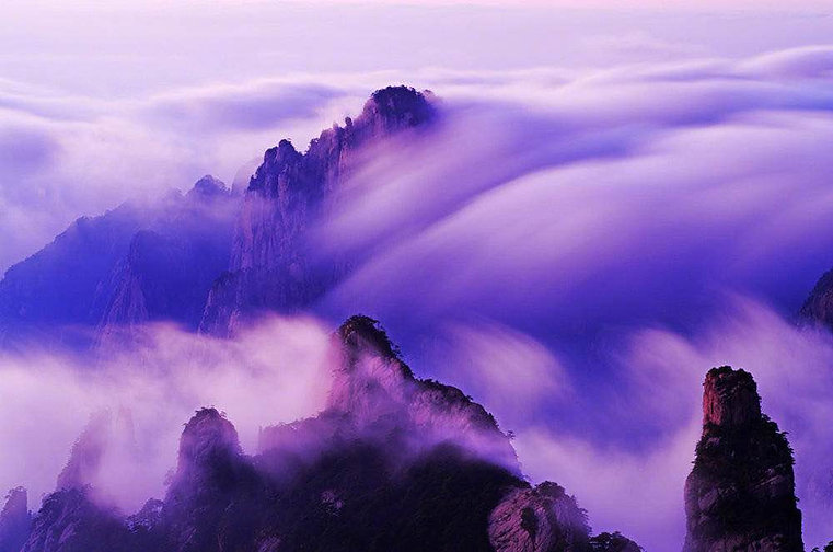 Sunset Glow and Waterfall-Shaped Clouds of Huangshan Mountain