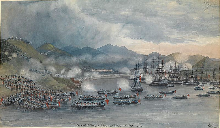 """British Fleet During the First Opium War, in the Painting """"Second taking of Chusan"""" by Edward H. Cree"""