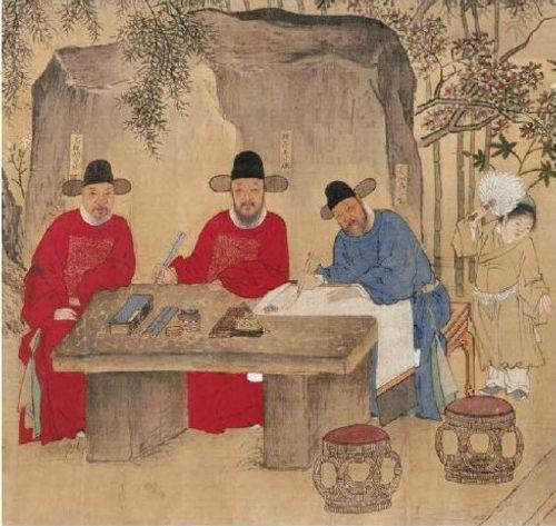 "Part of ""Zhu Yuan Shou Ji Tu"" that Described Officials' Literature Activities During Hongzhi Emperor's Reign"