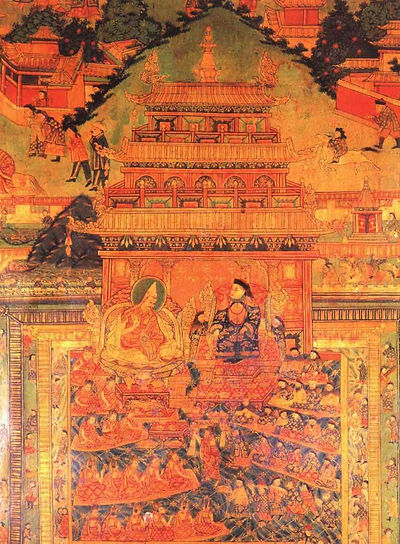 The 5th Dalai Lama Paying a Formal Visit to the Shunzhi Emperor of Qing in the Year 1652, Part of Frescoes in the Potala Palace.