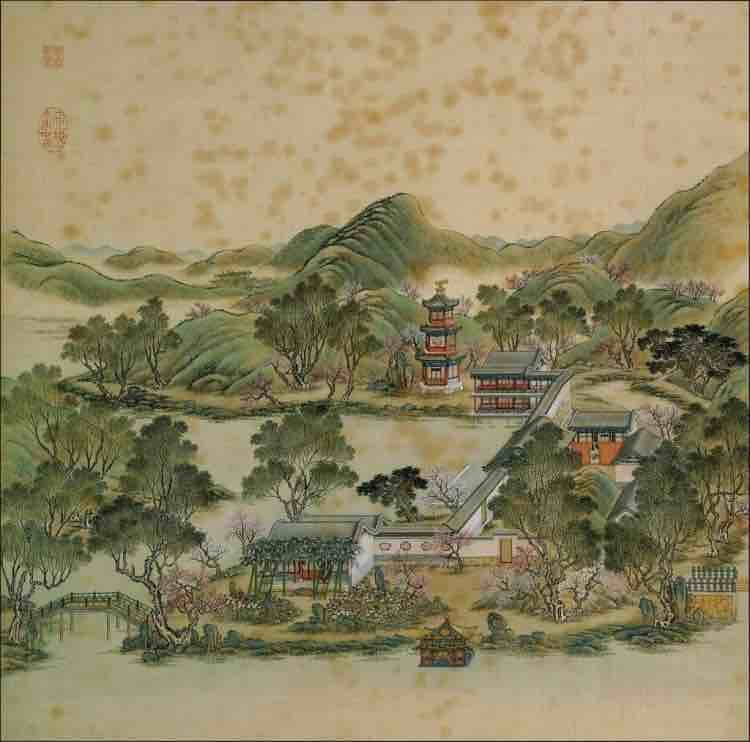 """Part of Court Painting """"Forty Scenes of the Old Summer Palace"""" (Yuan Ming Yuan Si Shi Jing Tu Yong) of the Qing Dynasty 7"""