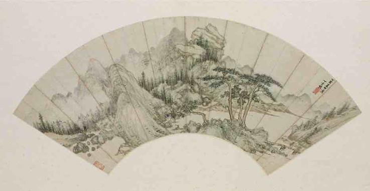 """Folder Fan Painting """"Ceng Yan Jing Xiu Tu"""" by Artist Ding Yunpeng (1547 - 1628) of the Ming Dynasty — National Museum of China"""
