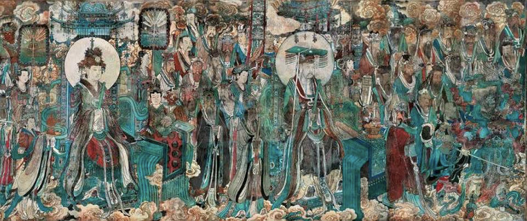 Part of Murals of Taoism Deities on the Walls inside the Yongle Palace (Built in 1247 — 1358) in Shanxi Province