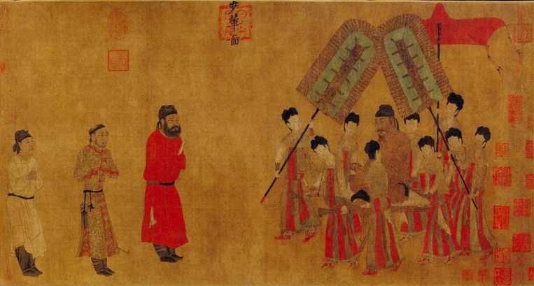 Tang Tai Zong or Emperor Taizong Receiving the Tibetan (Tu Bo) Envoy, Painted by Politician/Artist Yan Liben (601 — 673)
