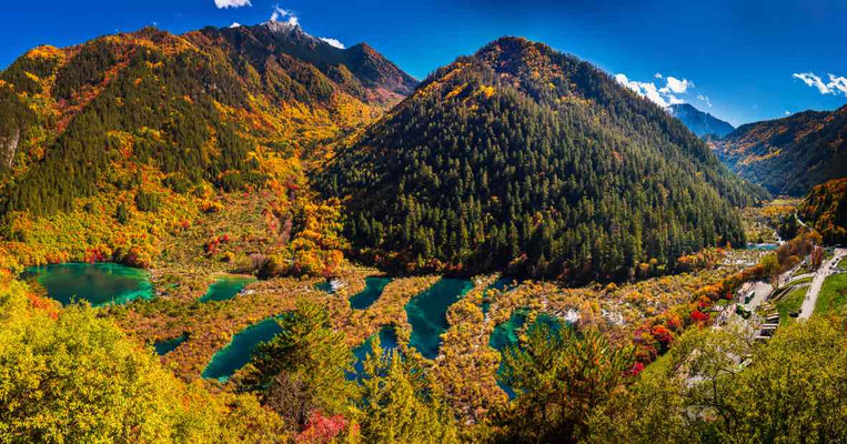 Beautiful Lakes and Plants of Shuzheng Valley or Shuzhenghai in Jiuzhaigou