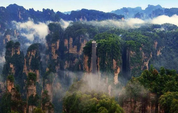 Bailong Elevator or Bailong Tianti in Wulingyuan Scenic and Historic Interest Area of Zhangjiajie