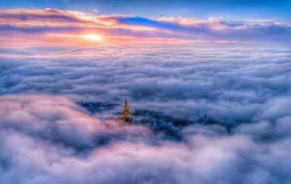 Sea Clouds on Summit of Mount Emei.