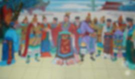 Emperor Liu Xiu and his ministers and generals reestablishing Han Dynasty