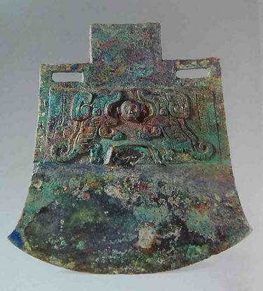 Unearthed Bronze Axe (Tong Yue) from Fu Hao's Tomb of the Shang Dynasty