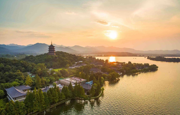 Beautiful West Lake in Hangzhou City