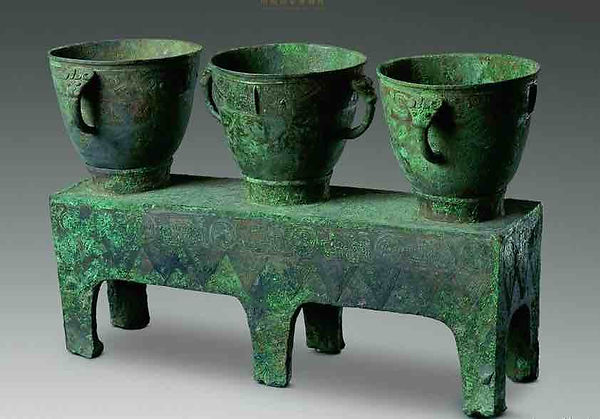 Unearthed Bronze Cooking Utensils (San Lian Yan) from Queen Fu Hao's Tomb