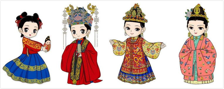 Hairstyle and Costumes of Stages of A Princess' Life (Kid, Grownup, Married Lady, Mother) of the Ming Dynasty (1368 — 1644)