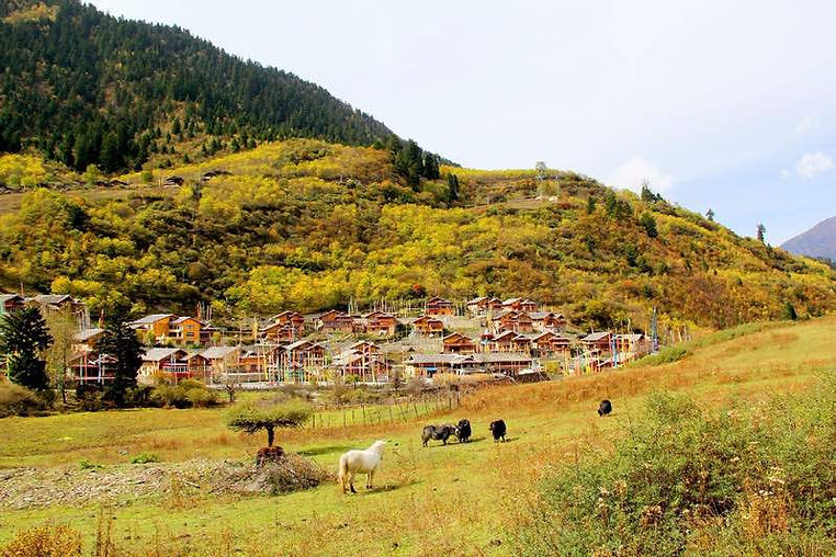 Shuzhengzhai, One of the Nine Tibetan Stockaded Villages in Jiuzhaigou.