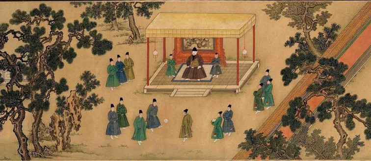 "Painting ""Zhu Zhanji Xing Le Tu"" Presenting Emperor Zhu Zhanji's Entertainment Activities in the Royal Palace Part 5"