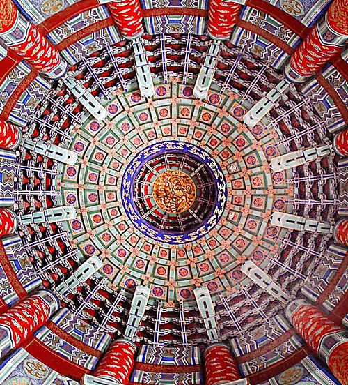 Exquisite Roof Decorations (Tianhua and Zaojing) of Qi'nian Dian of the Temple of Heaven