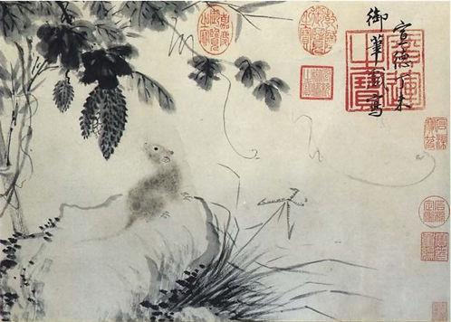 Bitter Gourd and Rat (Gua Shu Tu), Xuande Emperor Zhu Zhanji Painted to Celebrate the Birth of His First Boy