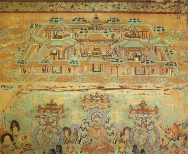 Murals of the Mid Tang Dynasty (762 — 827) in the 237th Cave of Mogao Grottoes.