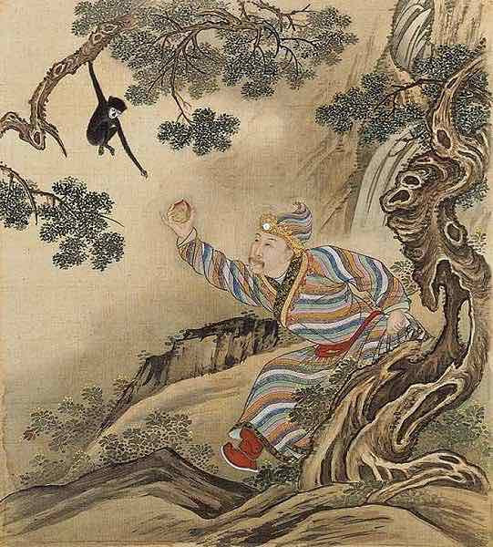 Yongzheng Emperor Cosplaying Scholar Dongfang Shuo (about 161 BC — 93 BC) Stealing Magical Peaches from the Deity Xiwangmu.
