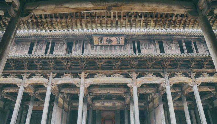 Exquisite Main Building (Baolun Ge) of the Ancestral Hall of Ancient Chengkan Villiage of Huizhou
