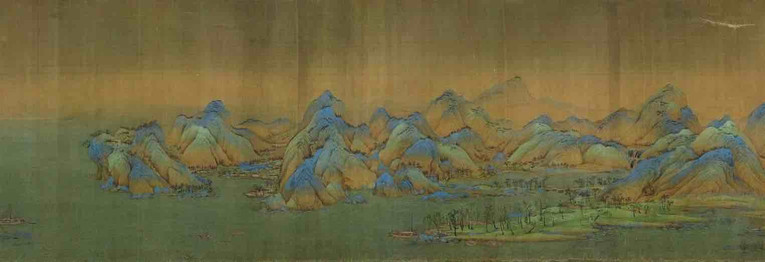 Painting Thousands Miles of Mountains and Rivers (Qian Li Jiang Shan Tu), by Artist Wang Ximeng of the Song Dynasty, Part 5