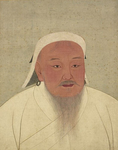 Portrait of Genghis Khan the Emperor Taizu of Yuan, By Court Artist of the Yuan Dynasty