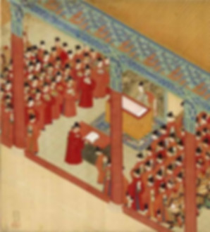 Wanli Emperor and Officials of Ming In the Painting About Life Experience of Xu Xianqing (1537 — 1602), By Artists Yu Ren and Wu Yue in 1588