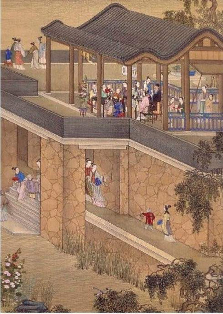 """Part of Painting """"Yongzheng Shier Yue Xing Le Tu"""", About Yongzheng Emperor and His Family's Daily Lives in the Old Summer Palace, By Artist Giuseppe Castiglione"""