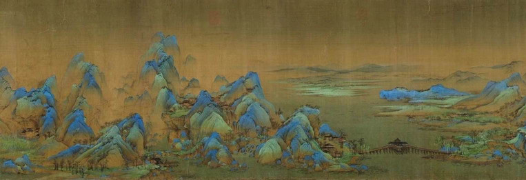 "Part of Painting ""Thousands Miles of Mountains and Rivers"" (Qian Li Jiang Shan Tu), by one of Taoism Believer Emperor Zhao Ji's Student, Artist Wang Ximeng (1096 — 1119) — The Palace Museum"