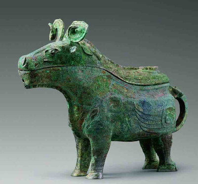 Cattle Shaped Bronze Wine Vessels of the Queen Fu Hao