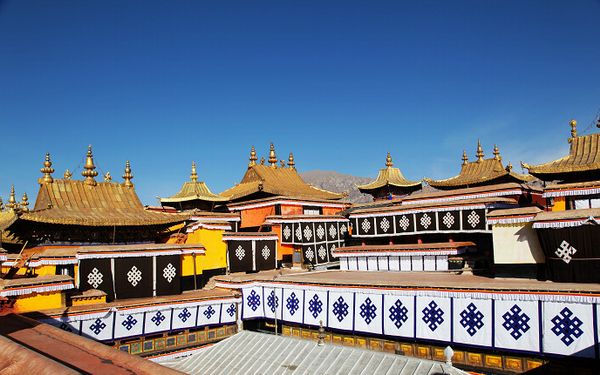 Golden Roofs and Houses on the Top of the Potala Palace.