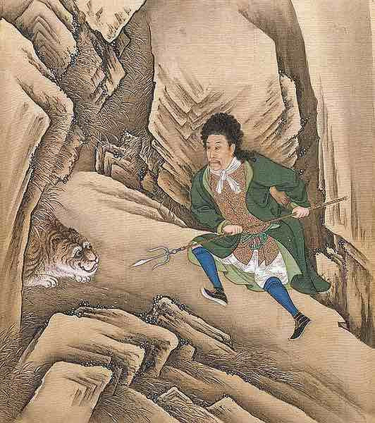 Yongzheng Emperor Wearing Western Style Clothes and Fighting Against Tiger.