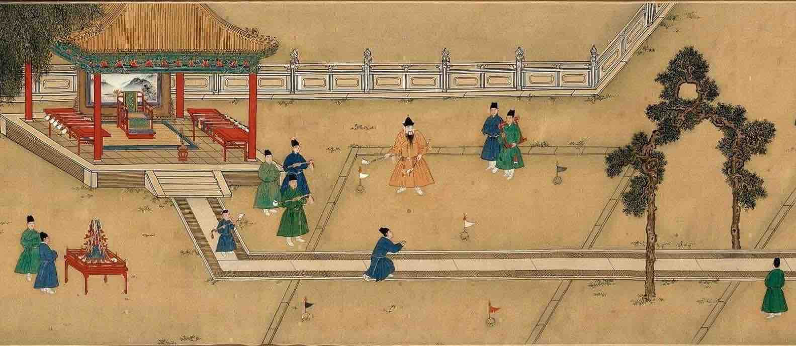 "Painting ""Zhu Zhanji Xing Le Tu"" Presenting Emperor Zhu Zhanji's Entertainment Activities in the Royal Palace Part 3"