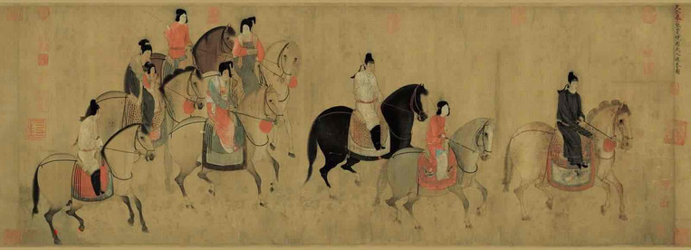 Painting of Lady Guoguo Spring Outing, By Emperor Zhao Ji