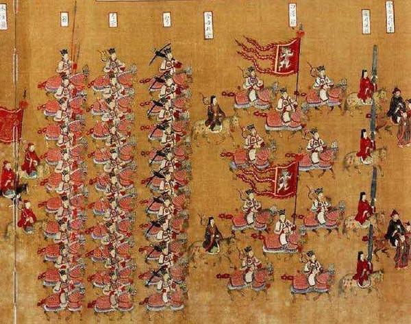 """Part of Ceremonial Guard of Emperor Zhao Zhen in """"Da Jia Lu Bu Tu Shu"""", Painted Around 1053 to 1065"""