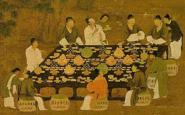 Part of Painting (Wen Hui Tu) by Emperor Zhao Ji (1082 — 1135) of the Song Dynasty, Presenting the Feast of Intelligent Scholars