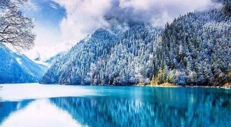 Snowy View of Jiuzhaigou in Winter