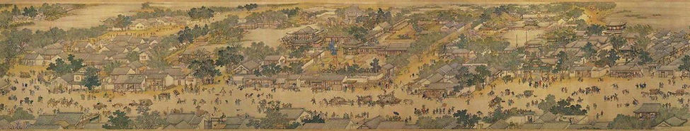 Part of the Painting (Qingming Shang He Tu) Along the River During the Qingming Festival by Artist Zhang Zeduan of the Song Dynasty